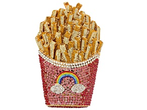 Pre-Owned Multi Color Crystal Gold Tone Rainbow French Fry Clutch