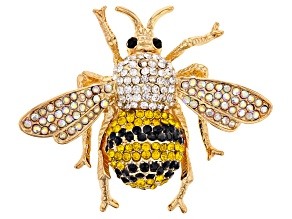 Pre-Owned Multi-color Crystal Gold Tone Bee Brooch