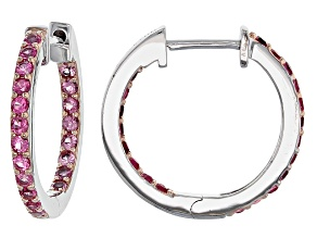 Pre-Owned Pink Spinel Rhodium Over Sterling Silver Hoop Earrings .88ctw