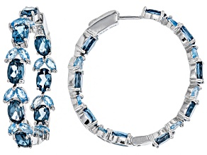 Pre-Owned Blue topaz rhodium over silver earrings 10.01ctw