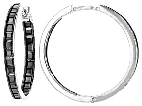 Pre-Owned Black Spinel Rhodium Over Sterling Silver Hoop Earrings 3.00ctw