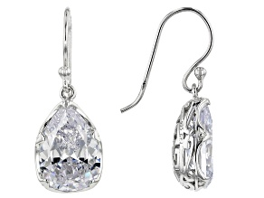 Pre-Owned White Cubic Zirconia Rhodium Over Sterling Silver Dangle Earrings 14.00ctw