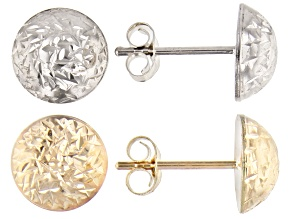 Pre-Owned 10K Yellow & White Gold Half Dome Hammered Stud Earring Set