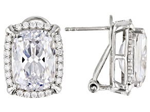 Pre-Owned White Cubic Zirconia Rhodium Over Sterling Silver Earrings 23.80ctw