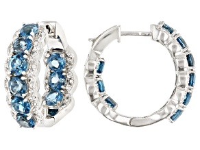 Pre-Owned Blue Topaz Rhodium Over Silver Hoop Earrings 5.50ctw