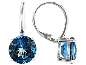 Pre-Owned London Blue Topaz Rhodium Over Sterling Silver Earrings 7.50ctw