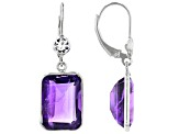 Pre-Owned Amethyst Rhodium Over Sterling Silver Earrings 13.00ctw