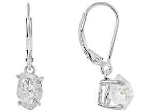 Pre-Owned White Doubly Terminated Quartz Rhodium Over Sterling Silver Earrings