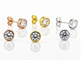 Pre-Owned White Cubic Zirconia Rhodium And 18K Yellow And Rose Over Silver Stud Earrings Set of 3 8.