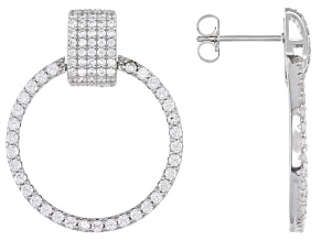 Pre-Owned White Cubic Zirconia Rhodium Over Sterling Silver Hoop Earrings 3.65ctw