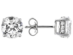 Pre-Owned Heritage Cut Zirconia From Swarovski ® Rhodium Over Sterling Silver Stud Earrings 7.27ctw