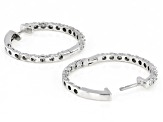 Pre-Owned White Diamond Rhodium Over Sterling Silver Hoop Earrings 0.25ctw