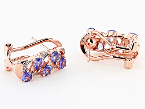 Pre-Owned Blue tanzanite 18k rose gold over silver earrings 1.17ctw