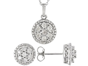 Pre-Owned White Diamond Rhodium Over Sterling Silver Earrings and Pendant Jewelry Set 0.50ctw