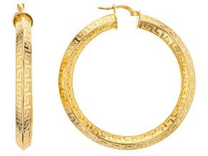 Pre-Owned 18k Yellow Gold Over Bronze Greek Key Tube Hoop Earrings
