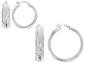 Pre-Owned Sterling Silver Diamond Cut Hoop Earrings- Set of 2