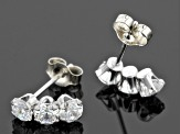 Pre-Owned White Cubic Zirconia 10k White Gold Earrings 1.08ctw