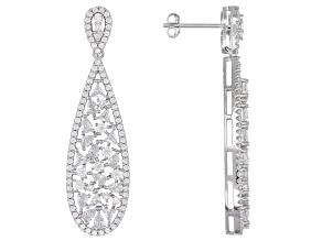 Pre-Owned White Cubic Zirconia Rhodium Over Sterling Silver Drop Earrings 4.97ctw