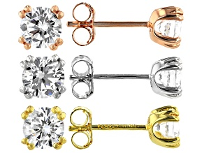Pre-Owned White Cubic Zirconia Rhodium And 18K Yellow And Rose Gold Over Silver Stud Earrings Set of