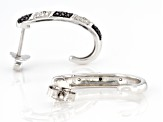 Pre-Owned Black And White Diamond Accent Rhodium Over Sterling Silver J-Hoop Earrings