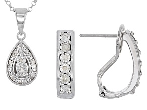 Pre-Owned White Diamond Rhodium Over Sterling Silver Jewelry Set .20ctw