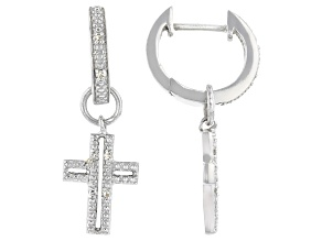 Pre-Owned White Diamond Accent Rhodium Over Sterling Silver Cross Dangle Earrings