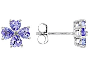 Pre-Owned Blue tanzanite rhodium over sterling silver stud earrings 1.24ctw