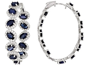 Pre-Owned Blue Sapphire Rhodium Over Silver Earrings 14.56ctw
