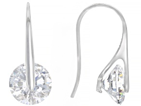 Pre-Owned White Cubic Zirconia Rhodium Over Sterling Silver Dangle Earrings 2.60ctw