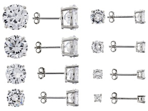 Pre-Owned White Cubic Zirconia Rhodium Over Sterling Silver Stud Earrings- Set of 8 38.00ctw