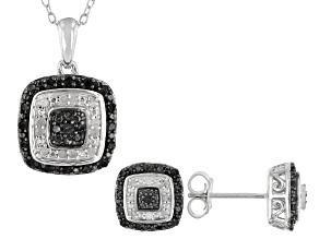 Pre-Owned Black And White Diamond Rhodium Over Sterling Silver Earrings and Pendant Jewelry Set 0.48