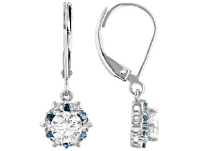 Pre-Owned Moissanite and Blue Diamond  Platineve Earrings 1.00ctw DEW.