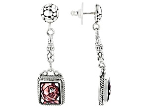 Pre-Owned Multicolor Mosaic Mother Of Pearl Silver Earrings