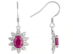 Pre-Owned Burma Ruby  Rhodium Over Sterling Silver  Dangle Earrings 1.80ctw