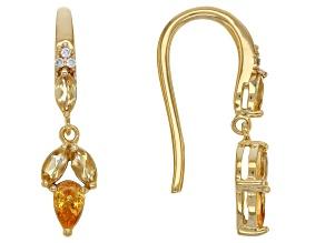 Pre-Owned Orange Spessartite 18k Gold Over Sterling Silver Earrings .92ctw
