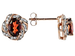 Pre-Owned Red Labradorite 18k Rose Gold Over Sterling Silver Earrings 1.43ctw
