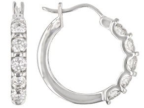 Pre-Owned Moissanite 10k White Gold Hoop Earrings 1.00ctw DEW.