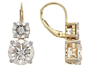 Pre-Owned Moissanite 14k Yellow Gold Earrings 7.00 Ctw DEW