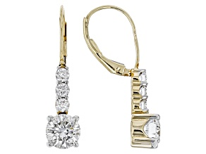 Pre-Owned Moissanite 14k Yellow Gold Earrings 1.96ctw D.E.W