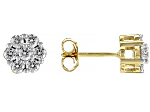 Pre-Owned Moissanite 14k Yellow Gold Over Silver Earrings   .84ctw DEW.