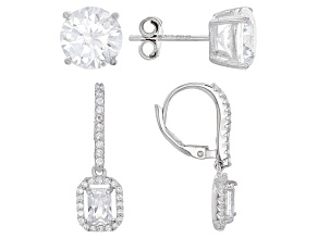 Pre-Owned White Cubic Zirconia Rhodium Over Sterling Silver Earrings Set 9.98ctw