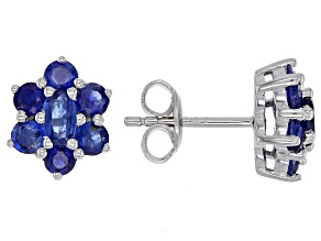 Pre-Owned Blue kyanite rhodium over sterling silver stud earrings 2.36ctw