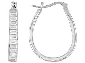 Pre-Owned Cubic Zirconia Rhodium Over Sterling Silver Hoop Earrings 4.80ctw