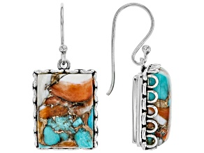 Pre-Owned Kingman Turquoise Blended W/Spiny Oyster Shell Rhodium Over Silver Earrings