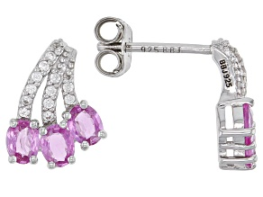 Pre-Owned Ceylon Pink Sapphire And White Zircon Sterling Silver Earrings 1.42ctw