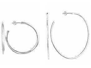 Pre-Owned Sterling Silver Semi-Oval Hoop Earrings