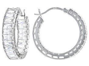 Pre-Owned White Cubic Zirconia Rhodium Over Sterling Silver Hoop Earrings 7.50ctw