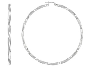 Pre-Owned Rhodium over sterling silver twisted round hoop earrings.