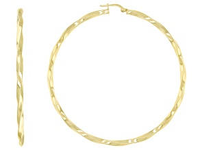 Pre-Owned 18k yellow gold over sterling silver twisted round hoop earrings.