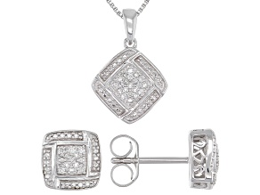 Pre-Owned White Diamond Rhodium Over Sterling Silver Pendant & Earring Jewelry Set 0.10ctw